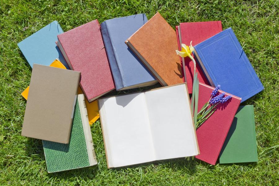 bøger på græs
